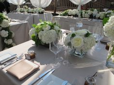Centerpieces. Square vase with red flowers, one per table.