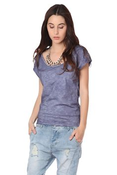 Blue t-shirt with sequin detail