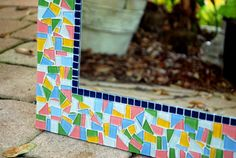 Pink Green Yellow Blue Mosaic Wall Mirror by GreenStreetMosaics, $150.00