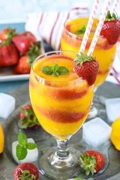 Treat your friends with a delightful, homemade, and healthy Strawberry Mango Daiquiri made with a slushy blend of strawberries and mangoes. Oh so refreshing and perfect for hot summer days! Mango Drinks, Strawberry Drinks, Smoothie Drinks, Summer Drinks, Strawberry Mango Daiquiri Recipe, Smoothie Cleanse, Juice Cleanse, Detox Drinks, Drink Recipes Nonalcoholic