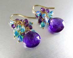 Amethyst And Opal Gemstone Cluster Gold Filled Earrings Beaded Earrings, Beaded Jewelry, Handmade Jewelry, Cluster Earrings, Gemstone Jewelry, Hoop Earrings, Diy Schmuck, Schmuck Design, Opal Gemstone
