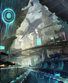 Big city, Yin Wang on ArtStation at https://www.artstation.com/artwork/big-city-86c2421f-b772-483e-a61b-cd5a3c7bfd30