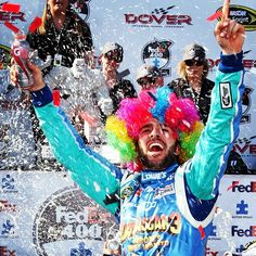Jimmie Johnson in victory lane today at Dover!  Woo Hoo!  LOVE his hair!
