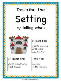 Posters about identifying and describing characters and settings; also includes related graphic organizers for any book; $