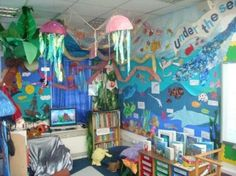 """A whole gallery of beautiful and creative classroom themes, from """"Under the Sea"""" to rainforest to flying around the world."""