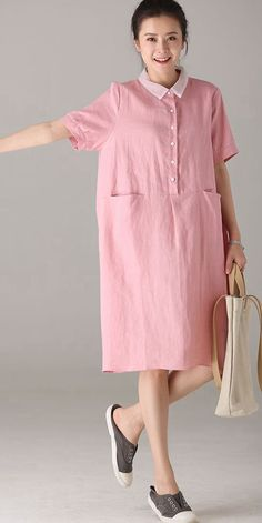 Fabric: Fabric has no stretchSeason: SummerType: Dress Sleeve Length: Short Color: Pink Material: Cotton and LinenDresses Length: Knee length Style: Casual Neck Type: Square neck Silhouette: Trendy Clothes For Women, Trendy Dresses, Simple Dresses, Casual Dresses For Women, Trendy Outfits, Fashion Outfits, Casual Clothes, Linen Dresses, Cotton Dresses