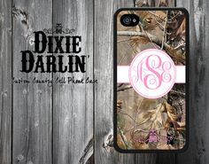 Monogram Bubble Gum Pink & Camo Country Chic Cell Phone Case - iPhone 4/4S/5/5S and Samsung Galaxy S3 case  (CP1502) on Etsy, $19.99
