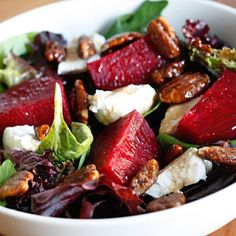 Baby Greens with Goat Cheese, Beets, and Candied Pecans