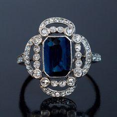 Art Deco Sapphire Diamond Platinum Openwork Engagement Ring by RomanovRussiacom on Etsy https://www.etsy.com/listing/494735517/art-deco-sapphire-diamond-platinum