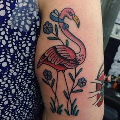 flamingo tattoo (without the neck thing) Pretty Tattoos, Beautiful Tattoos, Cool Tattoos, Beautiful Body, Boxer Tattoo, I Tattoo, Neo Traditional Tattoo, American Traditional, Traditional Art