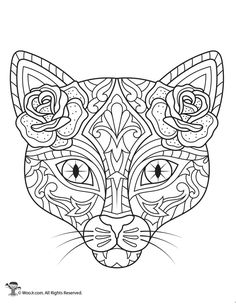 Day of the Dead Cat Adult Coloring Printable Cupcake Coloring Pages, Skull Coloring Pages, Detailed Coloring Pages, Cat Coloring Page, Halloween Coloring Pages, Printable Adult Coloring Pages, Colouring Pages, Day Of The Dead Drawing, Day Of The Dead Art