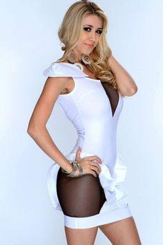 38e49d52e8bbd White Cutout Mesh Backless Sexy Club Dress