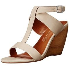 BC Womens Thrilled Vegan Leather T-Strap Wedge Sandals