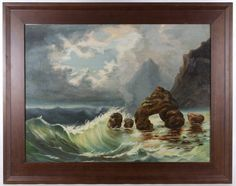 """Lot 308: Unknown Artist (20th Century) """"Seashore"""" Oil on Board; Undated, unsigned, depicting choppy waves"""