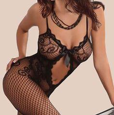 Sexy Lady Black Crotchless Fish Net Body Stocking Bodysuit Lingerie Nightwear