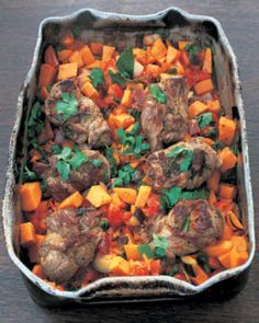 """A little time consuming but SO worth it! I used bone-in lamb chops and I'm pretty sure any cut of lamb will work.     I changed the recipe a bit, using butternut squash instead of sweet potato (husband doesn't like). I also added a few spices, like allspice, nutmeg, cloves, and tarragon. Finally, I used a bit more stock than he suggests, because I like my stew a little more """"soupy"""" and I served it with mini Yorkshire puddings.    Mmmmmm..."""