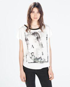 Image 1 of BLACK AND WHITE SLOGAN T-SHIRT from Zara