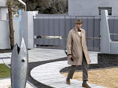 The stunning fish fountain and Jaques Tati in 'Mon Oncle', my personal Tati favourite. www.melbournemodernist.com