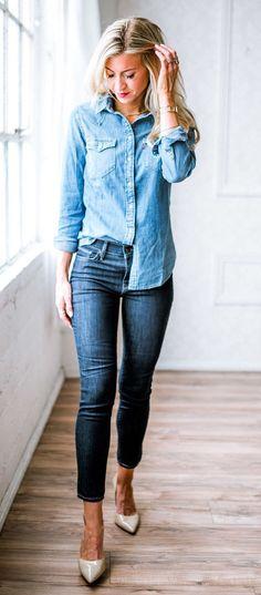 summer outfits Denim Shirt + Skinny Jeans + Grey Pumps