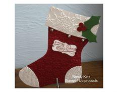Stampin' Up! embossed Christmas Stocking - Holiday Stocking Bigz die - Nendy Kerr