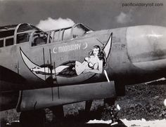 "Northrop Black Widow ""Moonhappy"" nose art, 6 NFS Saipan s/n Nose Art, Aircraft Painting, Airplane Art, Ww2 Planes, Aviation Art, Military Aircraft, Ww2 Aircraft, Military Art, Military History"