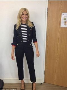 ': Holly Willoughby highlights her hourglass curves The This Morning presenter upped the fashion ante as she flaunted her enviable hourglass curves in a nautical inspired pant suit. Smart Casual Work Outfit Women, Casual Sunday Outfit, Sunday Outfits, Smart Outfit, Casual Outfits, Work Outfits, Wedding Outfits For Women, Summer Wedding Outfits, This Morning Fashion