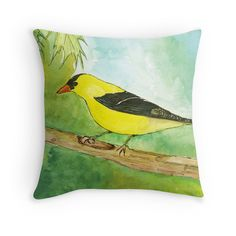 'Michigan Finch' Throw Pillow by AnjaliVaidya Framed Prints, Canvas Prints, Art Prints, Michigan, Vibrant, My Arts, Greeting Cards, Throw Pillows, Design