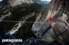 Brian Mosbaugh highlines across the long Rostrum line at Yosemite National Park, California. Patagonia Clothing | outdoor adventure commercial photography ad |