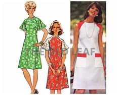 Sewing Pattern for 70s Dress with Flared Sleeves, Easy Simplicity 6215 #70sFashion #Dressmaking #EasySewingProjects #FlutterSleeve #FlaredSleeve #1970sDresses #TheOldLeaf
