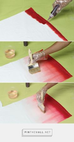 Tie Dye Ombre Technique Step a line of dye along fabric edge. Step a large wet paintbrush to brush dye upward on fabric. Step paintbrush in water and brush along edge of dye, pulling color upward to create a gradation of the original color. Shibori, Fabric Dyeing Techniques, Tie Dye Techniques, How To Tie Dye, How To Dye Fabric, Ombre Fabric, Dyeing Fabric, Dip Dye Fabric, Ombre Technique
