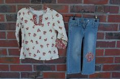 matching top and applique on jeans