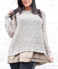 Look at this Simply Couture Taupe Open-Back Layered Sweater on #zulily today!