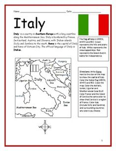 ITALY - Printable handout with map and flag