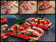Candy Christmas Sleds - https://www.facebook.com/skinnyfiberwholesaledistributor/photos/a.400008083484758.1073741832.214970395321862/404469726371927/?type=3&theater - Use these as decorations, party favors or gifts that kids can give to family members. They are cute and inexpensive. Instructions for how to make these #Christmas sleds.