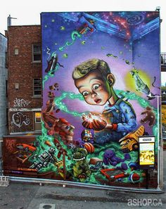 Public Murals by Ashop Crew on the Streets of Montreal