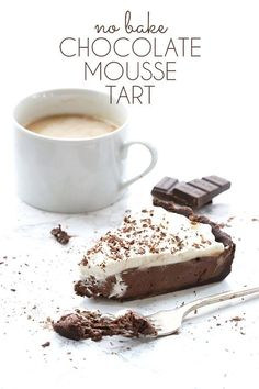 Low Carb No Bake Chocolate Mousse Tart - keto and grain-free.