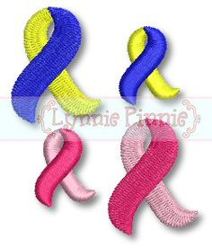 Lynnie Pinnie Free Mini Awareness Ribbon Embroidery Design