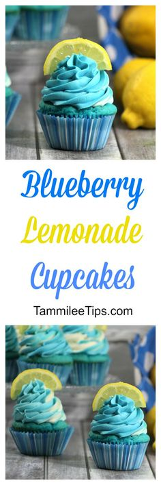 Blueberry Lemonade Cupcakes! So good! Perfect for a summer picnic or party.