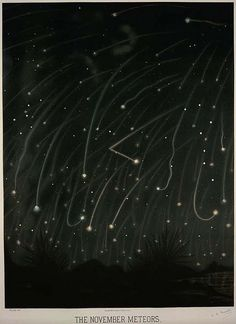 """""""The November Meteors"""" - Vintage Victorian space illustrations, created between 1868 and 1880 by French artist and astronomer Étienne Léopold Trouvelot. Accurate details in his work owed to his access to the U. Naval Observatory's 26 inch refractor. Cosmos, Constellations, Meteor Shower, Antique Illustration, Botanical Illustration, To Infinity And Beyond, What A Wonderful World, French Artists, Science And Nature"""