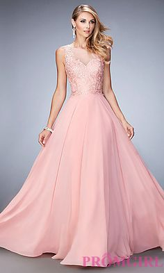 Gigi Floor Length Embroidered Prom Dress at PromGirl.com