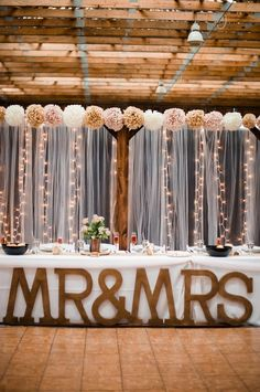 Rustic barn sweetheart table for wedding reception