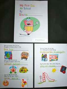 FREE easy reader for the 1st day of school. Add a school photo to make it a real keepsake. Includes a preschool-1st grade version + a blank page to program whatever grade you teach. Students trace, write, cut & glue. Easy way to assess skill-levels.
