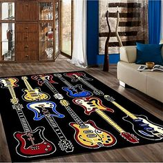 New Bedroom Luck Area Rug Theme Rugs Contemporary Carpet for teen x Music Bedroom, Boys Bedroom Decor, Bedroom Themes, Bedroom Fun, Music Inspired Bedroom, Bedroom Ideas, Contemporary Carpet, Contemporary Area Rugs, Music Themed Rooms