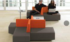 teknion.com  DNA freestanding, folding laptop table.  Pod seating.