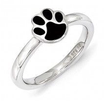 Sterling Silver Stackable Expressions Black Enamel Paw Ring