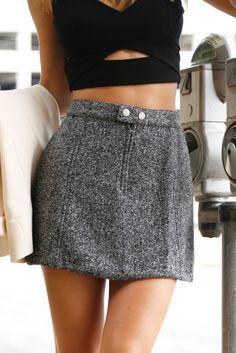 Tweed Mini Skirt - Get it before it's gone! www.scarletclothing.com