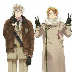 LOL RUSSIA AND AMERICA SWITCHED CLOTHES I LIKE HOW AMERICA DOES HIS PIECE SIGN THING xD