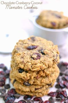 Chocolate Cranberry Coconut Monster Cookies - Flourless Peanut Butter-Oatmeal Monster Cookies with a delicious cranberry coconut twist! Gluten Free Baking, Gluten Free Desserts, Healthy Desserts, Delicious Desserts, Yummy Food, Cookie Recipes, Dessert Recipes, Dessert Ideas, Cranberry Cookies