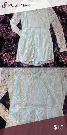 Lace Romper (Mint) Never worn! Long sleeve, lace, with beautiful detail. Perfect for your new spring wardrobe! Charlotte Russe Pants Jumpsuits & Rompers
