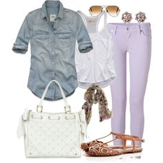 Lilac - denim - spring #outfit but with shoes that don't look like that